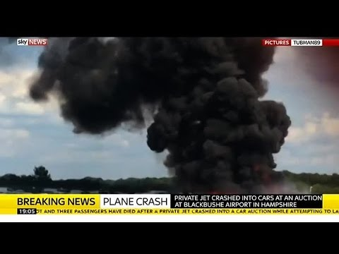 Four people died when the Saudi Arabia-registered plane ploughed into a car auction site and burst into flames in southern England on Friday.