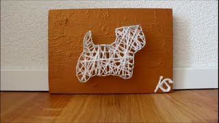 DIY: String Painting Westie Dog Time Lapse / Thread and Nail Acrylic Painting
