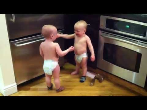 De - twin baby boys have a conversation part 2. find more of the boys' adventures at my wife's blog. visit http://www.twinmamarama.com/