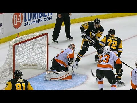 Video: Letang hits Crosby for perfect re-direct to get Penguins OT winner over Flyers