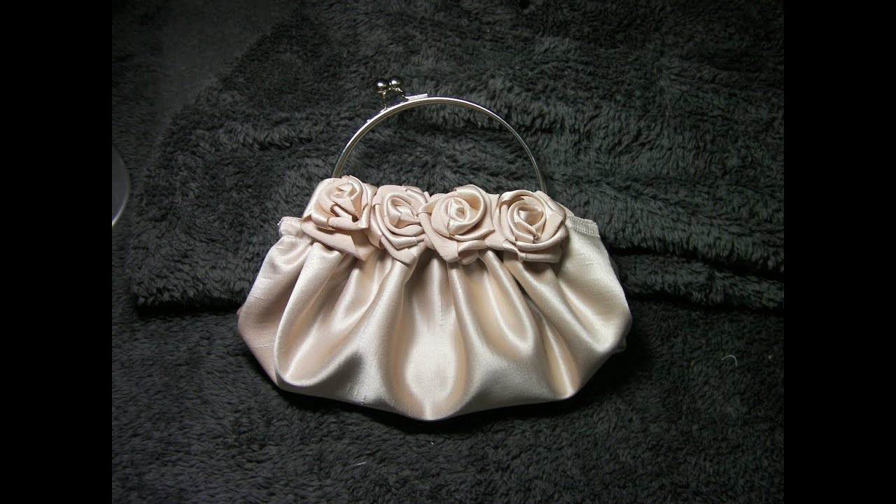 DIY COMO HACER UN BOLSO DE ROSAS EN  RASO BEIGE - HOW TO MAKE A ROSE SATIN BEIGE PURSE