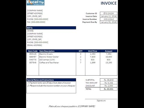 How To Create An Invoice Template In Excel!
