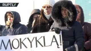 В Вильнюсе прошла акция протеста против закрытия русской школы