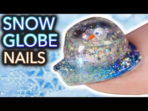 DIY Snowglobe Nails (I built a snowman on my nail) (видео)