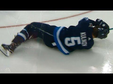 Video: Kulikov rocked into boards by McGinn, heads to Jets' locker room