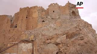 (14 Apr 2016) The citadel of the ancient town of Palmyra was seen partially demolished on Thursday, with one side of it showing damage by mortar or dynamite ...