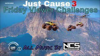 Just Cause 3 Challenge Video rules:Copy any challenge as long as you change it so it's not the same.Post as many challenges on the same challenge video as you want but always make a new comment do not post on replies or use capsWhen posting a challenge keep it to one comment on one video. Do not spam on other videos, or use exclamation points or emoji.Do not change your comment once I accept it.Challenges should be posted before 9:00 AM on Thursday to be candidates for the following week's Challenge videos.Friday Viewer Challenges comes out Friday 7:00 amFriday Featured Viewer Challenge comes out Friday 9:00 pmSaturday Challenge Event comes out Saturday 9:00 pmall times are (MDT)---All Music used in video provided by [NCS] NoCopyrightSoundsIntro - Desmeon - Hellcat [NCS Release]Elektronomia - Limitless [NCS Release]Geoxor - You & I [NCS Release]Electronic Vibes - Don't Leave Me (ft. Mime) [NCS Release]Distrion & Alex Skrindo - Entropy [NCS Release]Cartoon - On & On (feat. Daniel Levi) [NCS Release]https://www.youtube.com/user/NoCopyrightSoundsYour Number one Source of Copyright free Music---want to see some cool Game GIF https://gfycat.com/@charleytank---Nanos channel (Show your support by checking out their channel):https://www.youtube.com/channel/UC13x8ujr2JictFvUFITYyMA---Nanos Development blogs for the Multiplayer can also be found here:https://community.nanos.io/---Check out Gaveroid on YouTube https://www.youtube.com/user/gaveroid418 I also play on his JC3MP server http://discord.gaveroid.com come join the fun---Game Servers--------Gaveroid's JC2MP Server - jc-mp.gaveroid.com--------Gaveroid's JC3MP Server - jc3mp.gaveroid.com--------Gaveroid's Garry's Mod DarkRP Server - gmod.gaveroid.com--------Gaveroid's TeamSpeak 3 Server - teamspeak.gaveroid.com--------Gaveroid's CSGO Server - (find in server browser, search Gaveroid)---Protato (An awesome Just Cause 3 Modder!):https://www.youtube.com/user/Eonzenx---Check out Decrepit Chef on YouTubehttps://www.youtube.co