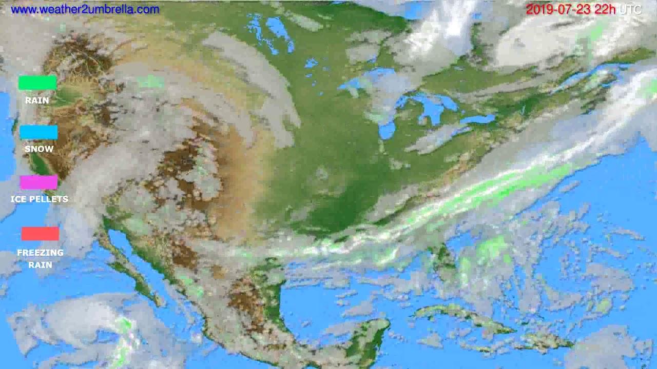 Precipitation forecast USA & Canada // modelrun: 12h UTC 2019-07-21