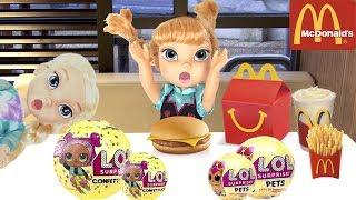 Video FROZEN Elsa McDonald's & LOL Surprise Toy Hunt!  Come Play FROZEN Toddlers Dolls -Kids Pretend Play MP3, 3GP, MP4, WEBM, AVI, FLV Maret 2018
