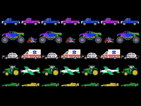Vehicle Patterns - ABAB - Sports, Street, Construction - The Kids' Picture Show (Fun & Educational)