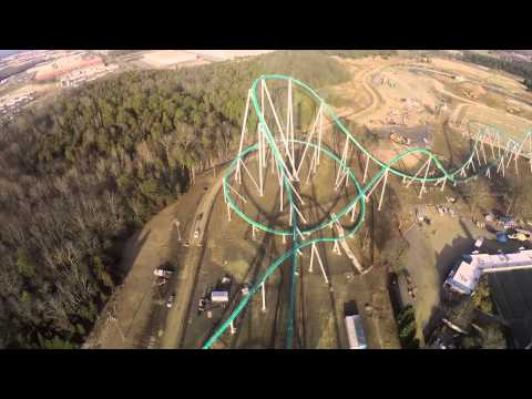 Full ride of the first test run of the new record breaking roller coaster in Charlotte NC. Holy shit the first half of this ride is fast