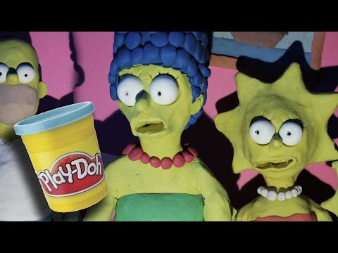 The Simpsons couch gag - part I [YOU'RE NEXT] | claymation stop motion animation