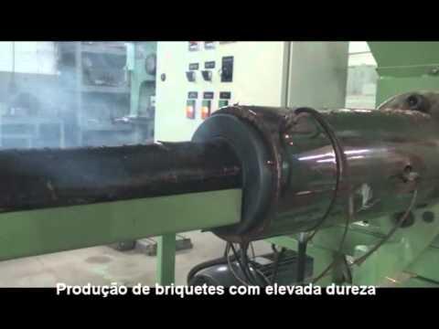 Briquetadeira Extrusora por Parafuso Lippel BEP 300 - Briquetes com Casca de Arroz