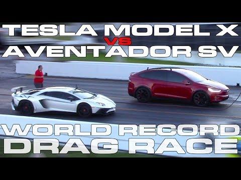 Tesla Model X P100D Ludicrous sets World Record vs Lamborghini Aventador SV Drag Racing 1/4 Mile