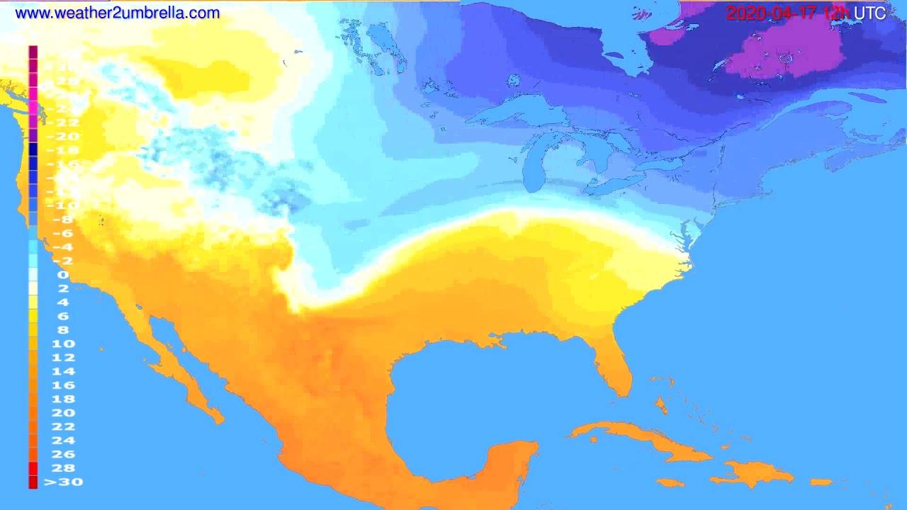 Temperature forecast USA & Canada // modelrun: 00h UTC 2020-04-17