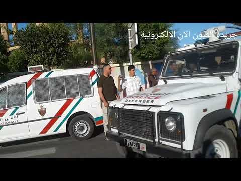 فيديو ..إخراج معطلي مجموعة القسم و إقتيادهم الى ولاية الأمن بالعيون بعد إعصامهم أعلى مركز للماء بشارع مكة