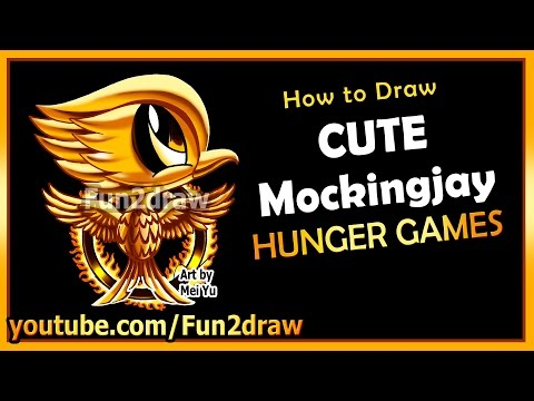 Cute Mockingjay Hunger Games - How to Draw Easy Things - Movie Cartoons for kids teens Fun2draw