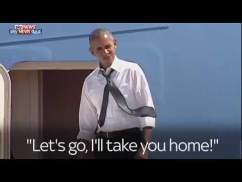 لماذا وقف اوباما منتظرا على سلم طائرة الرئاسة