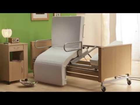 Pflegebett Aufstehbett mobilia cura e plus mit Aufstehhilfe und drehbarer Liegefläche