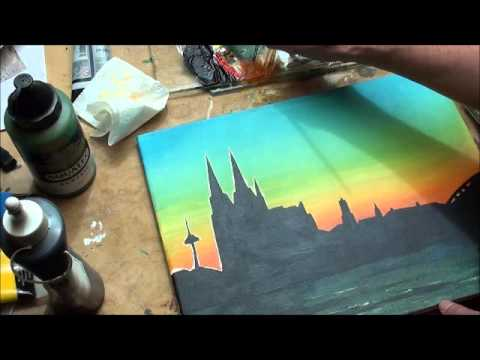 Malen mit Acryl: Skyline Altstadt Köln (Teil 3/3)