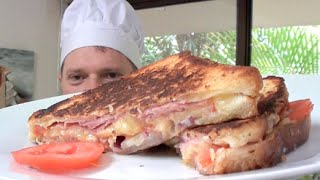 HAM CHEESE TOMATO BUTTER AND ONION Toasted Sandwich Recipe  - Greg's Kitchen