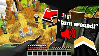 accidentally flying over a HUGE Minecraft Bandits BASE.. (Minecraft War #20)