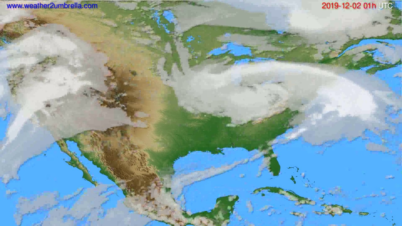 Cloud forecast USA & Canada // modelrun: 00h UTC 2019-12-01