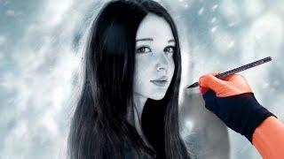 Drawing Girl In winter - Art Portrait