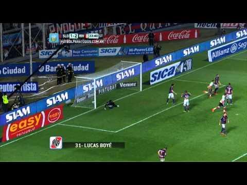 san - El joven delantero del Millonario cabeceó sin marca por el segundo palo y acomodó la pelota lejos de Torrico para el 3-1.
