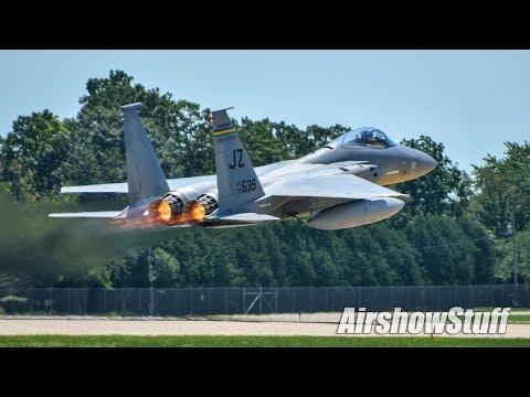 F-15 Eagle and F-22 Raptor Departures - EAA AirVenture Oshkosh 2017