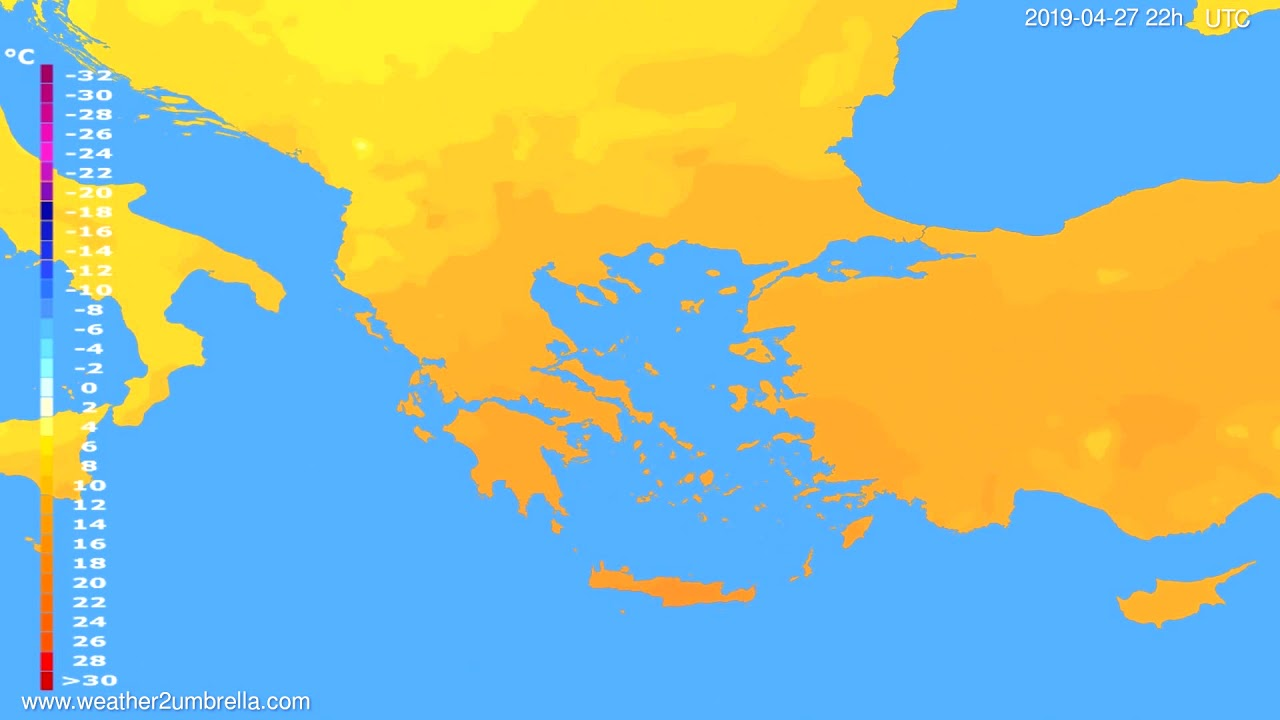 Temperature forecast Greece // modelrun: 00h UTC 2019-04-25