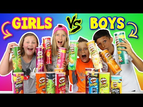 GIRLS vs BOYS Pringles Challenge!!!