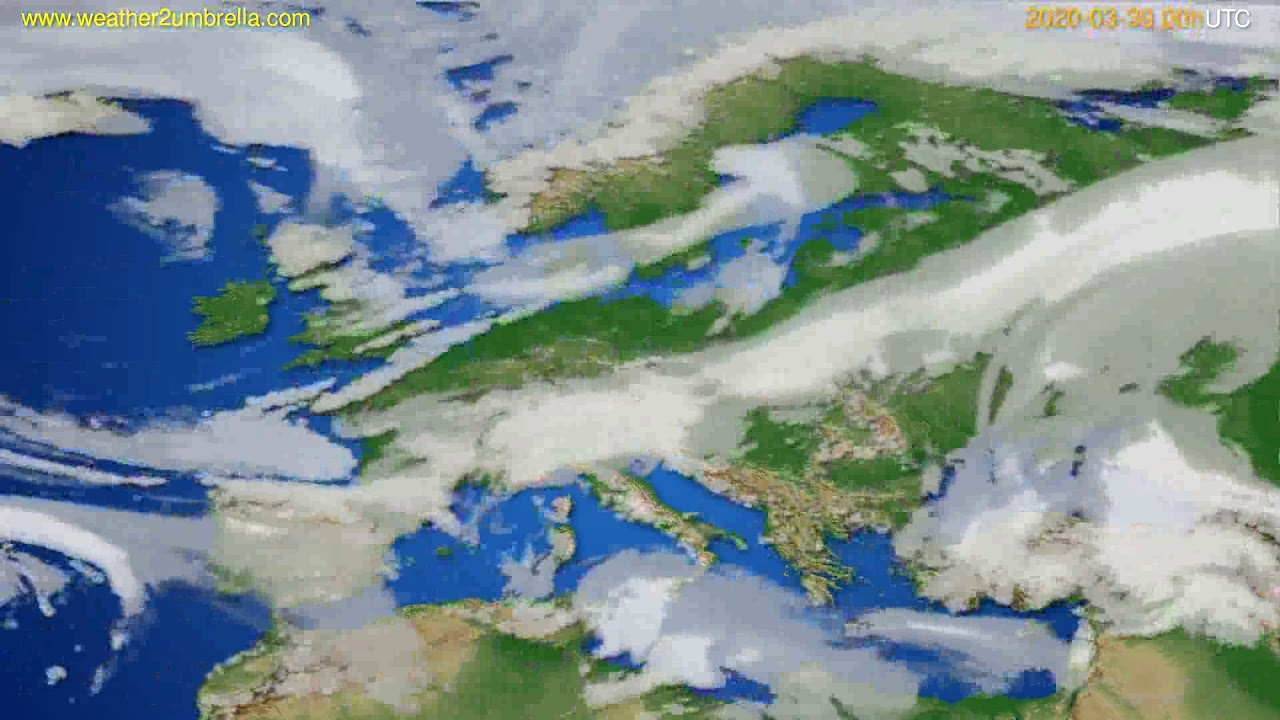 Cloud forecast Europe // modelrun: 00h UTC 2020-03-29