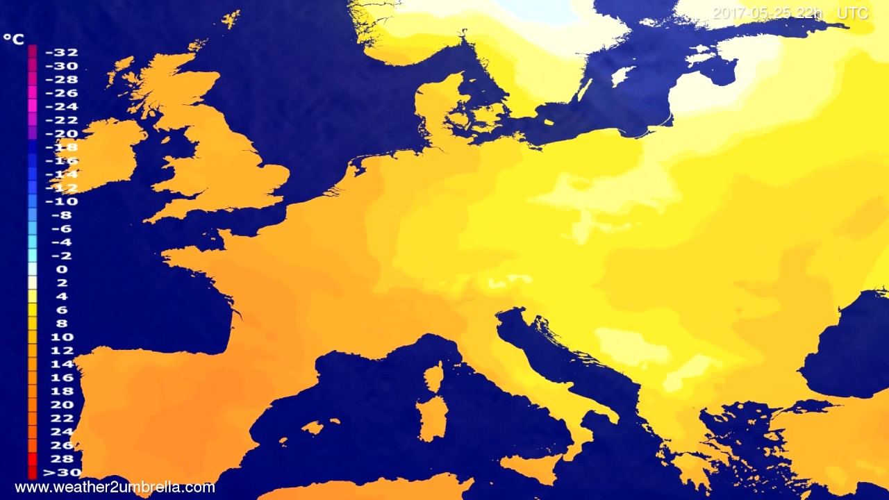 Temperature forecast Europe 2017-05-23