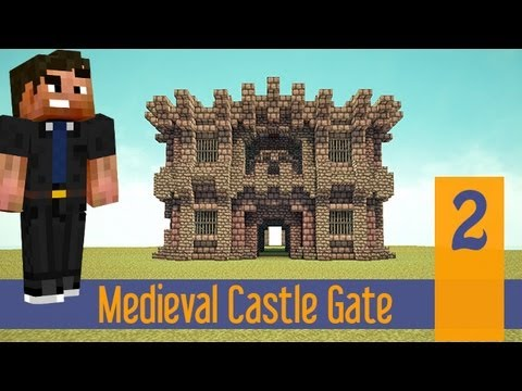 Minecraft Tutorials: Small Simple Medieval Castle Wall Gate! Ep.2 PS4/XBOX/PS3/PC/PE