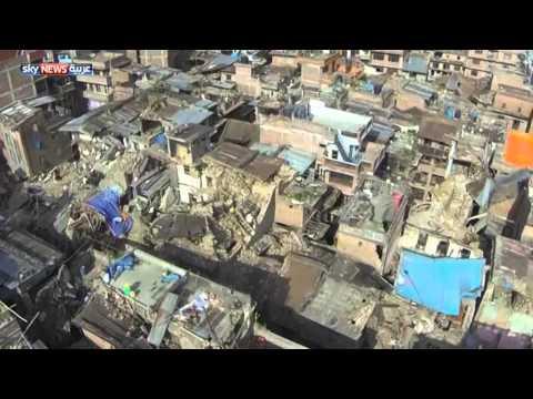 شاهد حجم الدمار الناتج عن زلزال نيبال ،، تصوير بالطائرة .