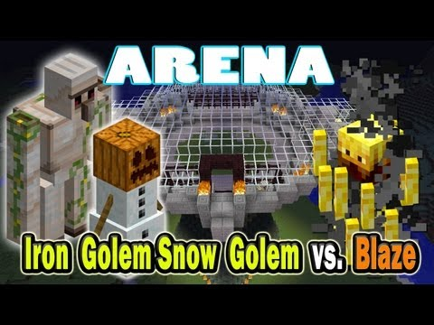 Minecraft Arena Battle Iron Golem & Snow Golem vs. Blaze