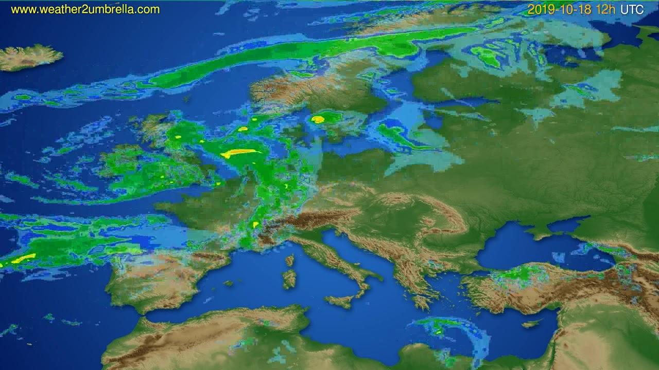 Radar forecast Europe // modelrun: 00h UTC 2019-10-18
