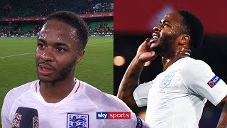 Raheem Sterling reacts to scoring first England goal in three years | Spain v England