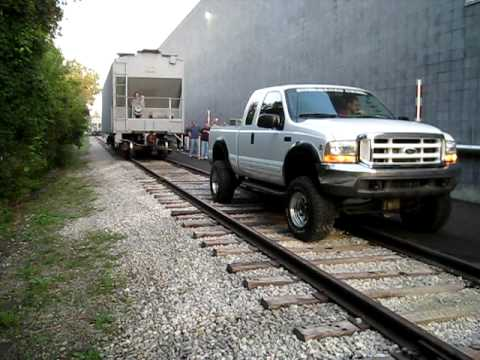 Cummins-powered Ford tows rail car