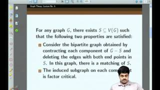 Mod-01 Lec-05 More On Tutte's Theorem