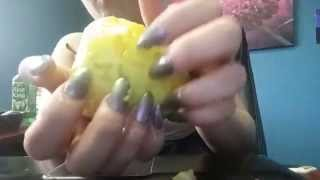*ASMR * Destroying Apple *Long Nails *