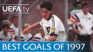 See the best strikes from the 1997 UEFA Women's EURO, featuring German legend Birgit Prinz.