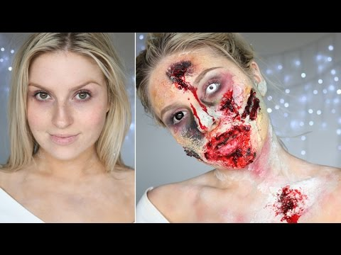 sfx - Here is my decomposing zombie makeup look! You can tone this down if you like, I went all out! Thumbs up if you liked :) xx Did you see my most recent video? Beautiful Sugar Skull https://www.youtu...