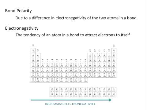 Electronegativity - https://www.thechemistrysolution.com This chemistry tutorial covers bond polarity and electronegativity, and the general trend of electronegativity on the pe...