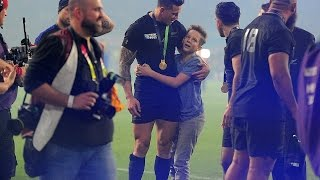 Sonny Bill Williams given new Rugby World Cup winners medal after handing young New Zealand fan his own one following Twickenham final victoryAfter wowing the world of sport with his incredible gesture to a young fan, New Zealand's Sonny Bill Williams has been rewarded by World Rugby with a new medal.The All Blacks centre gave his Rugby World Cup winners medal to child who had burst onto the field after Saturday's win, sparking praise for the heart-warming moment of generosity.And the game's governing body, not wanting the superstar to go without a memento for his achievements on the pitch because of his good-natured actions, have 'dug out a spare' to send home with him.Sonny Bill Williams was presented with a new medal by his captain Richie McCaw on Sunday at the World Rugby AwardsWilliams, who was called on stage at World Rugby's awards ceremony in central London on Sunday night to be handed the replacement.'World Rugby would like every winner this evening to go home with a medal, so they've rummaged in the store cupboard and they have found the final one,' said the event's host Alex Payne, before Williams was given a standing ovasion.But the centre has played down the exceptional nature of the incident, saying it could have been any one of his team-mates. 'I'm really surprised, most of the boys would have done the same,' he said. Williams was unaware he would be presented with a replacement medal but World Cup organisers acted following a request from the New Zealand players and management.When on stage Williams also asked if team-mate Jerome Kaino would be given a new All Blacks beanie hat, with the flanker having given his to teenager Lines on Saturday night. The sensational moment occurred when Charlie Lines, 15, burst on to the Twickenham pitch after the final whistle confirmed a 34-17 final victory over Australia in search of an autograph, but Williams made sure he left the ground with much more.The 30-year-old centre, who was lauded for consoling deflated S