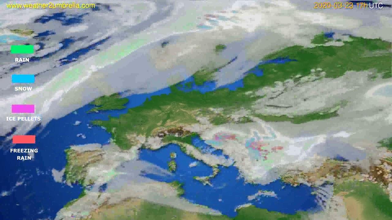 Precipitation forecast Europe // modelrun: 12h UTC 2020-03-22