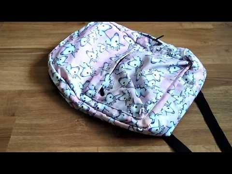 Guapabien Traveling Girls 3D Unicorn Print Backpack School Bag  PINK Unpacking from Gearbest