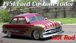 Retro video of an incredible traditional hot rod 1951 Ford Custom Tudor, a multiple award winner in Texas! Note the show quality GM Corvette red paint with Cadillac Gold Scallops, shaved emblems, frenched '55 Headlamps with '54 Mercury rings, frenched 1959 Cadillac tail lights, a 1954 Pontiac grille bar, etc. Power comes from a Chevrolet Corvette 350 V8 with dual quads paired with a 700R4 automatic overdrive. A Fatman suspension with Mustang II rack & pinion steering makes for a smooth ride. Check out this stance! This classic car is now available for sale. Call me for details or message me on facebook. - Samspace81 classic cars, muscle cars, sports cars, antique cars, hot rods, street rods, classic cars and more. I'm based in Terrell, Texas. Filmed in 4K UHD ! This is not a Ford Vicky or Victoria, it is a Custom or Kustom Tudor model!Facebook - https://www.facebook.com/samspace81/Paint is 1991 Corvette Deltron Red with 1979 Cadillac Firemist Gold Scallops