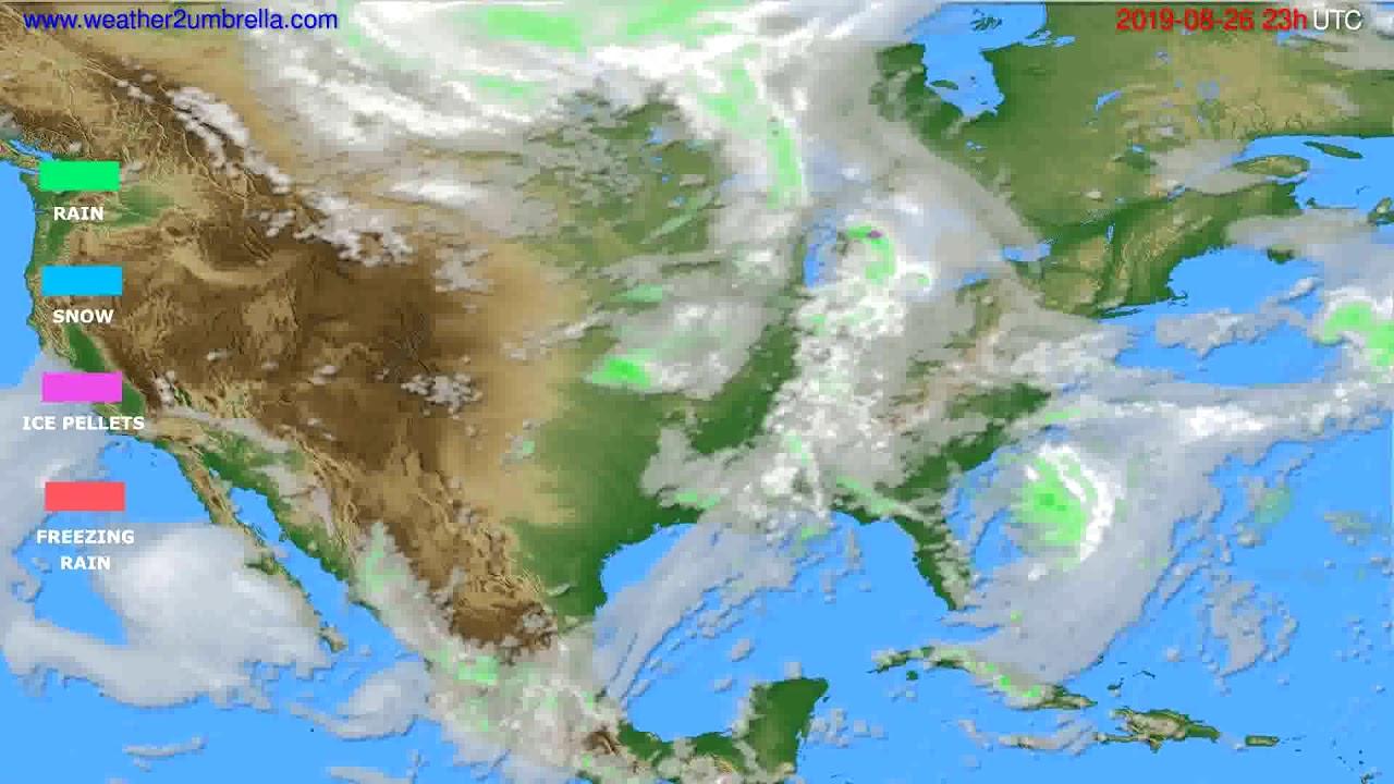 Precipitation forecast USA & Canada // modelrun: 12h UTC 2019-08-23